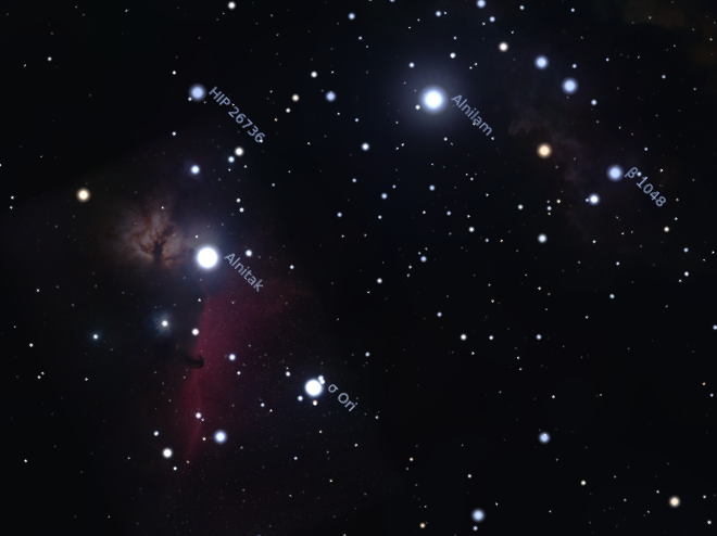 screenshot of stellarium view of horsehead - horse-stell-1-a
