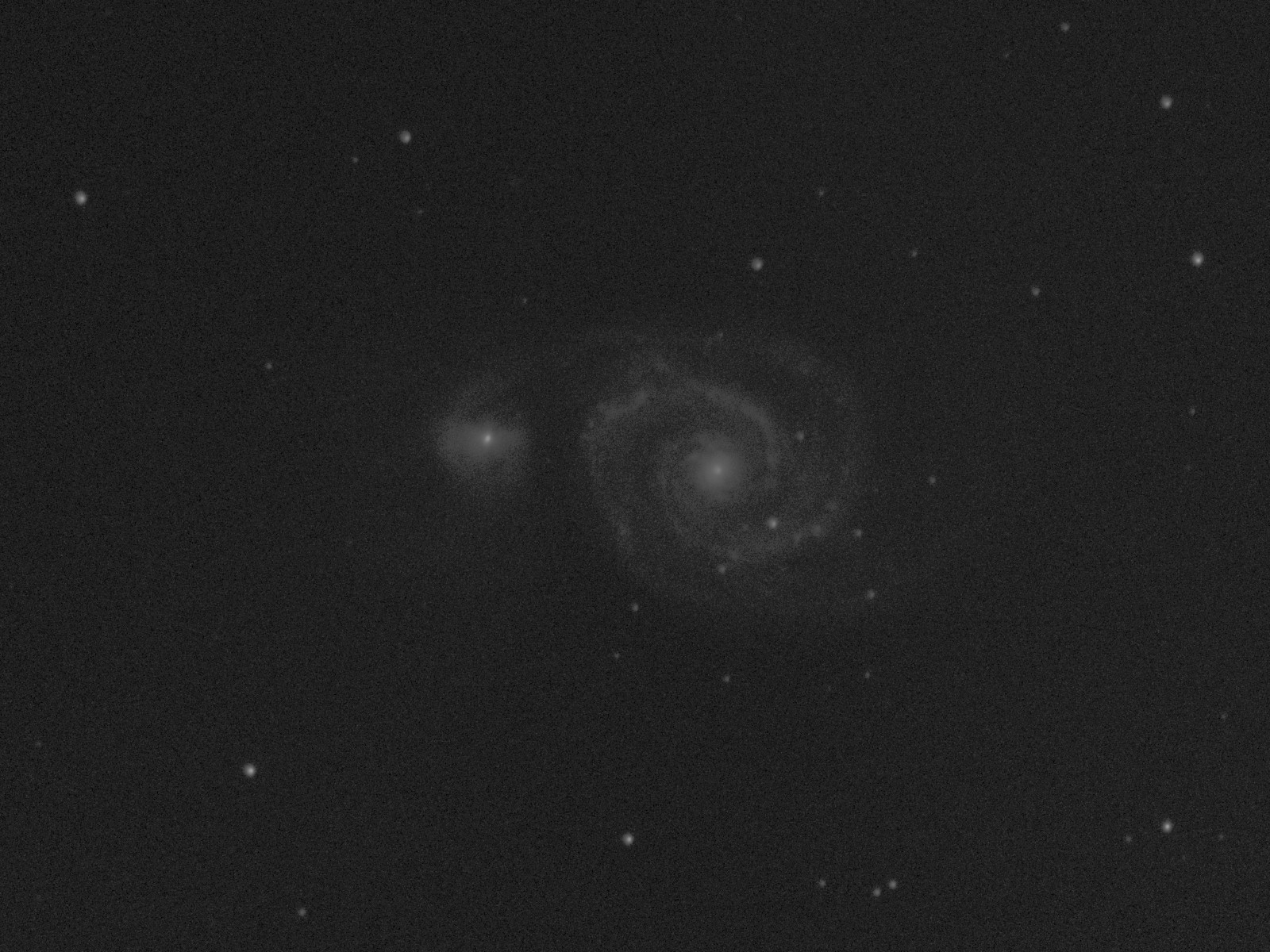 Washed out image of whirlpool galaxy